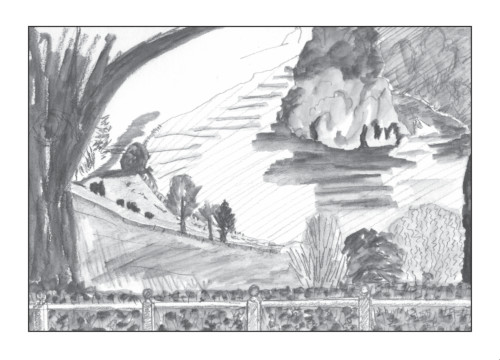 A drawing of the Thames from Richmond Hill in soluble pencil, part of the Drawing my way round London series