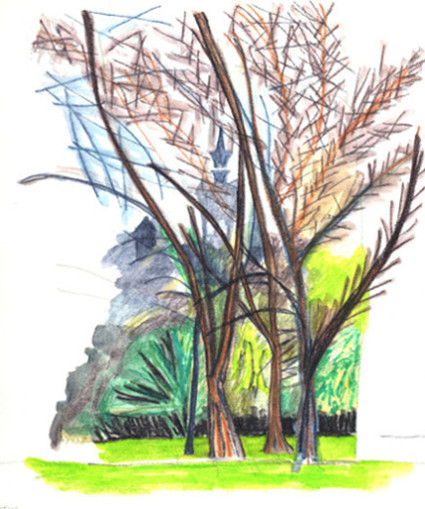 View of Union Chapel from Highbury Fields drawn using InkTense water soluble pencils on paper