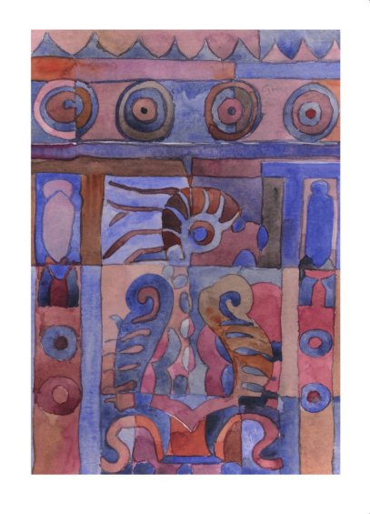 Painting based on a sketch of a wall carving in Mexico